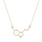 Serotonin Molecule Chemistry Necklace Unique Pendant Necklace Minimalist Jewellery Gift For Girls and Ladies Gold