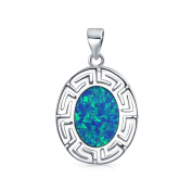 Bling Jewellery Greek Key Synthetic Blue Opal Pendant Sterling Silver Necklace 41cm