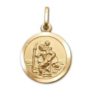 Clever Jewellery St Christopher Small Diameter 13 mm Matte Shiny Edges 333 gold ERNER Pendant 8 Carat