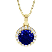 Stardust 1.35ct Sapphire and Diamond Halo Silver Pendant
