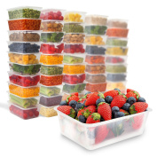 50 Plastic Food Storage Containers with Lids - Plastic Food Containers Meal Prep Containers Food Prep Freezer Containers with Lids - Plastic Containers with Lids Deli Containers With Lids [740ml]