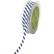Grosgrain Ribbon W/White Diagonal Stripes 1cm X50yd