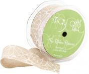 White Daisy Flower Print Ribbon 2.5cm - 1.3cm X20yd