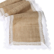 Burlap Lace Hessian Natural Jute Table Runner for Wedding Party Festival Event Table Decorations
