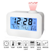 Projection Alarm Clock,SUAVER Bedside Silent Clock with Voice Control LED Backlight/Snooze Function/Sleep Timer,Indoor Time/Temperature/Day/Date Display Digital clock for Office Home Battery powered