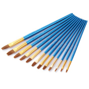 Art Paint Brushes Set, Wartoon 12pcs Assorted Sizes Nylon Artists Specialist Crafts Flat Paint Brushes for Art Acrylic Oil Painting Modelling, Blue