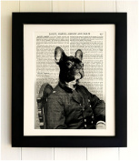 FRAMED FRENCH BULLDOG ART PRINT ON OLD ANTIQUE BOOK PAGE - Quirky Dog Dictionary Art