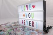 SAYiT Cinema Light Box A4 size, Cinematic Lightbox with 210 Black and Coloured Letters and symbols, perfect gift for all occasions, birthday, wedding celebration, USB and battery powered.