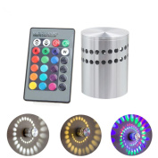 Novelty Indoor Wall Lights Colourful RGB Remote Control LED Light 360 Degree Beam Angle, Aluminium Hollow Cylinder Wall Lamp Spiral Led Wall Lighting For Party Bedroom Home Decor
