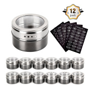 Magnetic Spice Tins - Stainless Steel Magnetic Spice Rack Magnetic on Fridge Spice Jars Organiser Condiment Container Set Pack of 12 with 120 Spice Labels Clear Lid with Sift & Pour for Small Kitchens