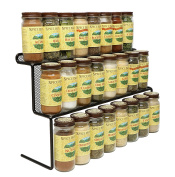 KitchenEdge 2-Tier Elevated Spice Rack Storage Organiser, Holds 16 Spice Jars and Bottles, Width 38cm
