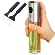Olive Oil Sprayer Mister Dispenser with 2 Bonus BBQ Oil Brushes for Barbecue Kitchen Grill Cooking Baking, Vinegar Glass Bottle