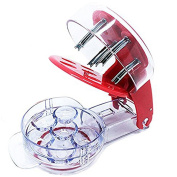 Coralpearl Stainless Steel Cherry Pitter Kitchen Redcherry Pit Remover Tool Machine with Mason Jar for 6 Cherries Red