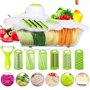 Mandoline Vegetable Cutter Slicer Chopper of Godmorn - 6 Interchangeable Blades with Peeler, Hand Protector,Storage Container - Cutter for Potato,Tomato, Onion, Cucumber,etc