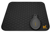 Eekay Wares Silicone Drying Mat with bonus silicone spoon rest & storage band for easy storage- Easy Clean, Heat Resistant, Antibacterial XXL Black