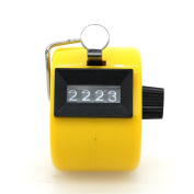 Manual Tally Counter 4 Digit Display Metal Mechanical Counter Lap Counter with Finger Ring Mechanical Palm Click Counter Yellow for Stadium, Casino and Game Scores by TheBigThumb