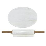 BENZARA Marble Board With Rolling Pin-Benzara / BM121776 /