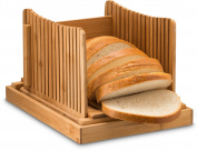 Bamboo Foldable Bread Slicer with Crumb Catcher Tray for Cutting Even Slices Every Time, Wooden Manual Bread Slicer Perfect for Homemade Breads and Loaf Cakes, Folds Flat for Easy Storage By