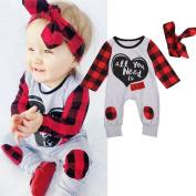 BeautyVan Hot Sale ! 2Pcs Set Baby Outfits Set,Newborn Baby Boys Girls Letter Print Plaid Ankle-Length Jumpsuit Outfits