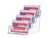 Deflecto Business Card Holders Four Tier 4 Compartment Clear