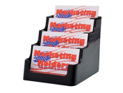Deflecto Business Card Holders Four Pocket 4 Compartment Black