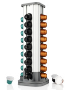 Nespresso Capsule Holder Coffee Capsule Rack Carousel, Nespresso Pod Holder with 40 Pod Capacity, 360-degree Rotation, Aluminium