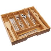 Cutlery Tray with 7 Compartments,Used for Drawer Organiser and Divider,Perfect Bamboo Holder for Utensils,Flatware,Silverware by Artmeer