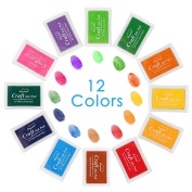 Ink Pads – 12 Colours Rainbow Washable Craft Stamps for Kids/Children, Toys for Making Finger Paints