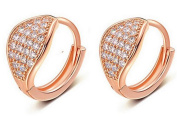 Boowhol Women's Diamond Clip on Round Earings Rose gold Hoop Creole Crystal Diamond 925 Sterling Silver Earrings