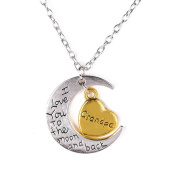 VWH I Love You To The Moon And Back Family Pendant Necklace Choker Chain Necklace