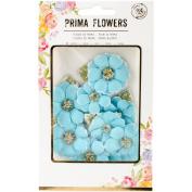 Prima Marketing Fabric Flowers W/Beads & Flocking 9/Pkg