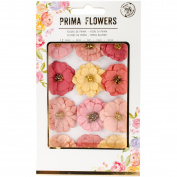 Prima Marketing Paper Flowers W/Beads 12/Pkg