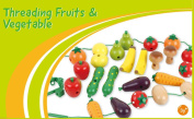 Wooden Fruit and Veg Threading Game