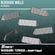 Blockade Walls, Terrain Scenery for Tabletop 28mm Miniatures Wargame, 3D Printed and Paintable, EnderToys