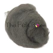 Carded Wool For Felting, Needle Felting Wool, Wool Batt, Craft Wool, Single Shade, 100 grammes 100ml (Mid Grey