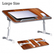 Avantree [Large Size] Adjustable Laptop Bed Table, Portable Standing Desk, Foldable Sofa Breakfast Tray, Notebook Stand Reading Holder for Couch Floor Kids - American cherry