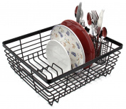 ESYLIFE Kitchen Dish Drainer Drying Rack with Full-Mesh Silverware Storage Basket, Black