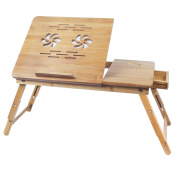 Bed Table Serving Tray Bamboo Laptop Desk with Drawer Adjustable Portable Foldable Breakfast Lap Desk with Cup Holder by BAMBUROBA