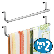 mDesign Over-the-Cabinet Expandable Kitchen Dish Towel Bar Rack - Pack of 2, Brushed Stainless Steel