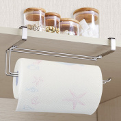 Upgraded Version Paper Towel Holder, Aiduy Kitchen Paper Hanger Rack Bathroom Towel Roll Stand Organiser for Under Cabinet and Over the Door, Stainless Steel