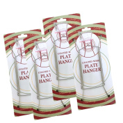 Chrome Vinyl Coated Plate Hanger 8 to 25cm - Set of 4 Pcs - Clear Vinyl Sleeves Protect the Plate - Hook and Nail Included