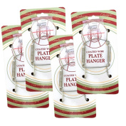 Chrome Vinyl Coated Plate Hanger 3 to 13cm Plate Hanger Set of 4 hangers - Includes Hanging Hook and Nail