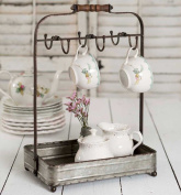 Vintage Rustic Galvanised Tabletop Mug Rack Tea Cup Hook basket Jewellery display