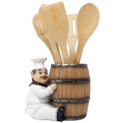 French Chef Pierre Decorative Countertop Utensil Holder Crock with Faux Wood Wine Barrel Display Stand Table Statue for Country Cottage Decor & Gourmet Kitchen Decorations As Housewarming Gifts