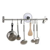 KES Kitchen Rail Rack Wall Mounted Utensil Hanging Rack Brushed Stainless Steel Hanger Hooks for Kitchen Tools, Pot, Towel (15 Sliding Hooks), KUR209S80-2