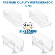Stackable Bins Kitchen Storage Containers Refrigerator Organiser 4 pc Set Bins 4 Grins