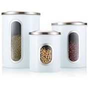 FC Airtight Window Kitchen Canister, Stainless Steel Canisters Sets with Fingerprint Resistance Lid, Cereal Container Set of 3