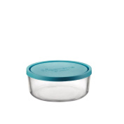 Bormioli Rocco Frigoverre Classic Glass 750ml Round Container with Teal Lid