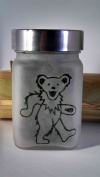Twisted420Glass Dancing Bear Etched Glass Stash Jar Inspired By the Grateful Dead