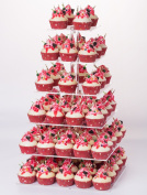 YestBuy 6 Tier Maypole Square Wedding Party Acrylic Cupcake Display Stand (Normal 6 Tier Square with Base)